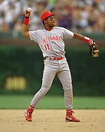 CHICAGO - 1993:  Barry Larkin of the Cincinnati Reds fields during an MLB game versus the Chicago Cubs at Wrigley Field in Chicago, Illinois during the 1993 season. (Photo by Ron Vesely) Subject:   Barry Larkin