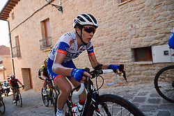 Shara Marche (AUS) battles up the cobbled climb at the 2020 Clasica Feminas De Navarra, a 122.9 km road race starting and finishing in Pamplona, Spain on July 24, 2020. Photo by Sean Robinson/velofocus.com