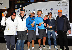 Francesco Bruni and their ViP guests collect  their prizes for second place in the Corviglia Challenge. Photo:Chris Davies/WMRT