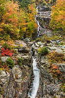 Silver Cascade during peak autumn color in Crawford Notch, White Mountains, New Hampshire.