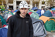 Malcolm Blackman demonstrating at Occupy London OSLX, St Pauls Catherdral, London.