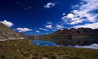 Veiw across Yamdrok Tso or Turquoise Lake in Tibet.