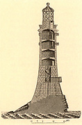 Sectional view of the fourth Eddystone lighthouse built on the Stone 13 miles South-east of Polperro, Cornwall, England, which claimed up to 50 ships a year.  Built by  the English civil engineer John Smeaton (1724-1792) beginning in 1756 it was in operat