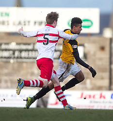Stirling Albion's Ross Smith brings down East Fife's Nathan Austin and gets booked. <br /> East Fife 1 v 0 Stirling Albion, Scottish Football League Division Two game played atBayview Stadium, 20/2/2106.