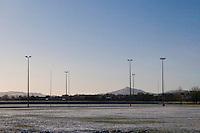 Snow covered football fields at Kilbogget Park in suburban in Dublin Ireland
