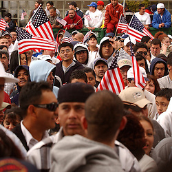 Immigration rally in Reno, Nev. in front of the Bruce R. Thompson Federal Court House, Monday, April 10, 2006.<br /> <br /> Photo by David Calvert