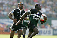 Action from the 2008-2009 opening event in the IRB World sevens series, the Emirates Airline Dubai Sevens 2008 tournament at the new Sevens Stadium in Dubai on 28th/29th November 2008. Zimbabwe v New Zealand