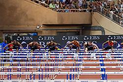 July 20, 2018 - Monaco, France - 110 metres haies hommes - Aries Merritt (Etat Unis) - Balazs Baji (Hongrie) - Pascal Martinot Lagarde (France) - Orlando Ortega (Espagne) - Sergey Shubenkov (Russie) - Hansle Parchment  (Credit Image: © Panoramic via ZUMA Press)
