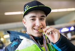 Jernej Slivnik prior to the departure of Slovenian Paralympic team for Pyeongchang 2018 Winter Paralympics, on March 3, 2018 in Letalisce Jozeta Pucnika, Brnik, Slovenia. Photo by Vid Ponikvar / Sportida