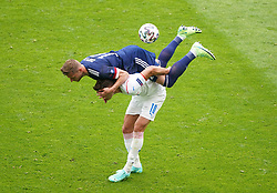 ** CAPTION CORRECTION CORRECTING NAME OF TOP PLAYER* Caption should read Scotland's Liam Cooper (top) and Czech Republic's Michael Krmencik battle for the ball during the UEFA Euro 2020 Group D match at Hampden Park, Glasgow. Picture date: Monday June 14, 2021.