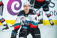 KELOWNA, BC - FEBRUARY 15: Devin Steffler #4 of the Kelowna Rockets warms up on the ice against the Red Deer Rebels at Prospera Place on February 15, 2020 in Kelowna, Canada. (Photo by Marissa Baecker/Shoot the Breeze)