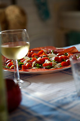 Glass of white wine with appetizers