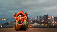 Troll waiting for his travel around the globe with the Semester at Sea Spring 2016 Voyage. View of the San Diego harbor and skyline from the Hilton Hotel in San Diego, California. Image taken with a Nikon 1 V3 camera and 10-30 mm VR lens (ISO 160, 10 mm, f/16, 1/15 sec).