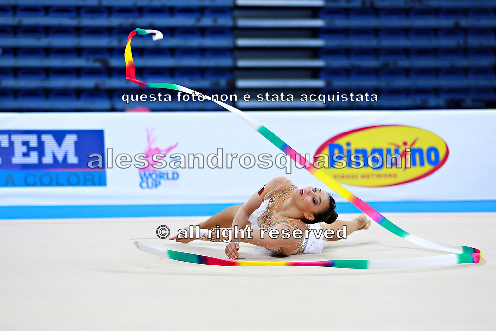 Castillo Galindo during qualifying at ribbon in Pesaro World Cup 11 April 2015.<br /> Galindo born 16 September, 1990 in Jalisco is a Mexican individual rhythmic gymnast.