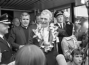"Fr Niall O'Brien Returns from Captivity.1984..14.07.1984..07.14.1984..On 6 May 1983,Fr Niall O'Brien was arrested along with two other priests, Fr. Brian Gore, an Australian, Fr. Vicente Dangan, a Filipino and six lay workers - the so-called ""Negros Nine"", for the murders of Mayor Pablo Sola of Kabankalan and four companions. The priests where held under house arrest for eight months but ""escaped"" to prison in Bacolod City, the provincial capital, where they felt they would be safer.The case received widespread publicity in Ireland and Australia, the home of one of the co-accused priests, Fr. Brian Gore. When Ronald Reagan visited Ireland in 1984, he was asked on Irish TV how he could help the missionary priest's situation. A phone call the next day from the Reagan administration to Ferdinand Marcos resulted in Marcos offering a pardon to Fr. O'Brien and his co-accused..(Ref Wikipedia)...Fr Niall O'Brien is pictured being cheered by wellwishers as he leaves the arrivals at Dublin Airport."