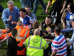 Bristol Rovers' John-Joe OToole gets confronted by fans. - Photo mandatory by-line: Alex James/JMP - Mobile: 07966 386802 03/05/2014 - SPORT - FOOTBALL - Bristol - Memorial Stadium - Bristol Rovers v Mansfield - Sky Bet League Two