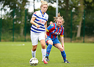 Sarah Jones watching the action unfold during the Pre-Season Friendly match between Crystal Palace LFC and Queens Park Rangers Ladies at the The Stadium, Bromley, United Kingdom on 19 July 2015. Photo by Michael Hulf.