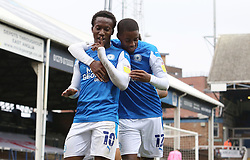 Siriki Dembele of Peterborough United celebrates scoring his goal against Oxford United with team-mate Reece Brown - Mandatory by-line: Joe Dent/JMP - 17/10/2020 - FOOTBALL - Weston Homes Stadium - Peterborough, England - Peterborough United v Oxford United - Sky Bet League One