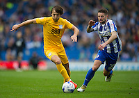 Preston North End's Ben Pearson holds off the challenge from Brighton & Hove Albion's Oliver Norwood<br /> <br /> Photographer Ashley Western/CameraSport<br /> <br /> The EFL Sky Bet Championship - Brighton & Hove Albion v Preston North End - Saturday 15th October 2016 - American Express Community Stadium - Brighton<br /> <br /> World Copyright © 2016 CameraSport. All rights reserved. 43 Linden Ave. Countesthorpe. Leicester. England. LE8 5PG - Tel: +44 (0) 116 277 4147 - admin@camerasport.com - www.camerasport.com