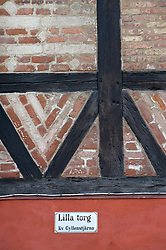 Detail of historic timbered house in Lilla Torg district of Malmo in Sweden