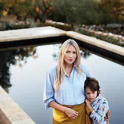 Collette Dinnigan, posing with her son Hunter in her villa's garden. Ostuni, Italia. September 28, 2019.