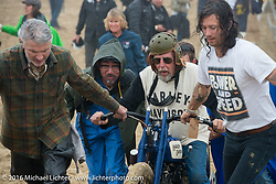 Pete Young and others help Fred Lange get through the soft sand and to the pits at TROG West - The Race of Gentlemen. Pismo Beach, CA, USA. Saturday October 15, 2016. Photography ©2016 Michael Lichter.