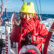 Leg 7 from Auckland to Itajai, day 13 on board MAPFRE, Cape Horn traditions, Tamara Echegoyen with a cigar, 30 March, 2018.