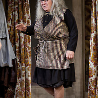 Gregor Fisher as 'Yer Granny' who is eating the family out of house and home.<br /> <br /> Yer Granny - a new production by The National Theatre of Scotland opens at the Beacon arts Centre, Greenock, Scotland.<br /> <br /> <br /> Based on La Nona by Roberto Cossa<br /> In a new version by Douglas Maxwell<br /> Directed by Graham McLaren<br /> <br /> <br /> Picture by Drew Farrell<br /> Tel : 07721-735041<br /> Image offered on a speculative basis.<br /> <br /> Yer Granny is a riotous new comedy about a diabolical 100-year-old granny who's literally eating her family out of house and home. She's already eaten their fish and chip shop into bankruptcy and now she's working her way through their kitchen cupboards, pushing the Russo family to desperate measures just to survive beyond 1977.<br /> <br /> As proud head of the family, Cammy is determined that The Minerva Fish Bar will rise again and that family honour will be restored – and all in time for the Queen's upcoming Jubilee visit. But before Cammy's dream can come true and before Her Maj can pop in for a chat, a single sausage and a royal seal of approval, the family members must ask themselves how far they will go to solve a problem like Yer Granny.<br /> <br /> Adapted from the smash-hit Argentinian comedy classic La Nona, the cast of Yer Granny features some of Scotland's best-loved performers, including Gregor Fisher in the title role, alongside Paul Riley (Still Game), Jonathan Watson (Only An Excuse?), Maureen Beattie (Casualty), Barbara Rafferty (Rab C Nesbitt), Brian Pettifer (The Musketeers) and Louise McCarthy (Mamma Mia!, West End).<br /> <br /> Performance dates :<br /> The Beacon Arts Centre, Greenock<br /> 19/05/2015-21/05/2015 <br /> <br /> King's Theatre, Glasgow<br /> 26/05/2015-30/05/2015 <br /> <br /> King's Theatre, Edinburgh<br /> 02/06/2015-06/06/2015 <br /> <br /> Eden Court, Inverness<br /> <br /> Lyric Theatre, Belfast<br /> 23/06/2015-27/06/2015 <br /> <br /> Dundee Rep Theatre<br /> 30/0
