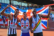 Silver medalist Zharnel HUGHES, gold medalist Adam GEMILI and bronze medalist Miguel FRANCIS after the Mens 200m Final during the Muller British Athletics Championships at Alexander Stadium, Birmingham, United Kingdom on 25 August 2019.