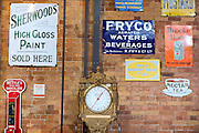 Old signs are exhibited at The National Railway Museum in York.