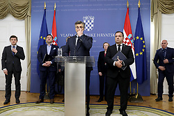 25.02.2020, Zagreb, CRO, Coronavirus in Kroatien, im Bild Premierminister Andrej Plenkovic gab auf einer Pressekonferenz bekannt, dass der erste Fall von Coronavirus-Krankheit (COVID-19) in Kroatien gemeldet wurde. Es handelt sich um einen jüngeren Mann. Sein Zustand ist gut und er war in Mailand, Italien. // Prime Minister Andrej Plenkovic announced on press conference that the first case of coronavirus disease (COVID-19) was reported in Croatia.It's about a younger man. His condition is good and he was in Milan, Italy. Zagreb, Croatia on 2020/02/25. EXPA Pictures © 2020, PhotoCredit: EXPA/ Pixsell/ Patrik Macek<br /> <br /> *****ATTENTION - for AUT, SLO, SUI, SWE, ITA, FRA only*****