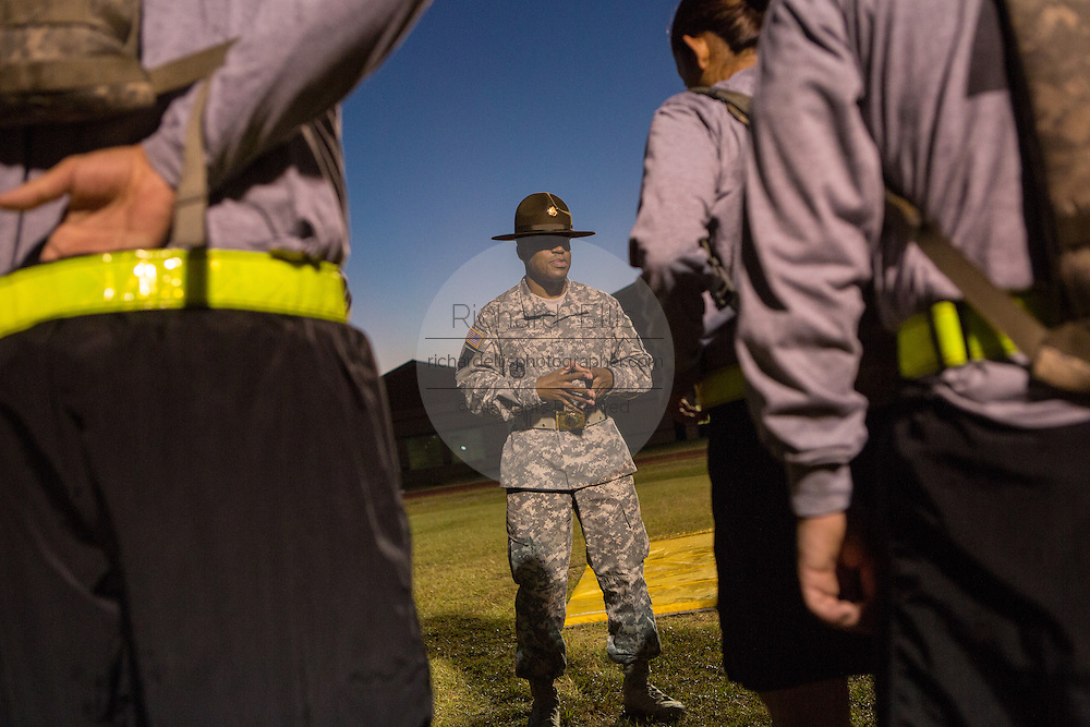 A Drill Sergeant instructor at the US Army Drill Instructors School Fort Jackson barks instructions to candidates September 27, 2013 in Columbia, SC. While 14 percent of the Army is women soldiers there is a shortage of female Drill Sergeants.