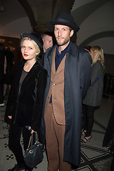 SOPHIE KENNEDY CLARK and HENRY HUDSON at the Veuve Clicquot Widow Series launch party hosted by Nick Knight and Jo Thornton MD Moet Hennessy UK held at The College, Central St.Martins, 12-42 Southampton Row, London on 29th October 2015.
