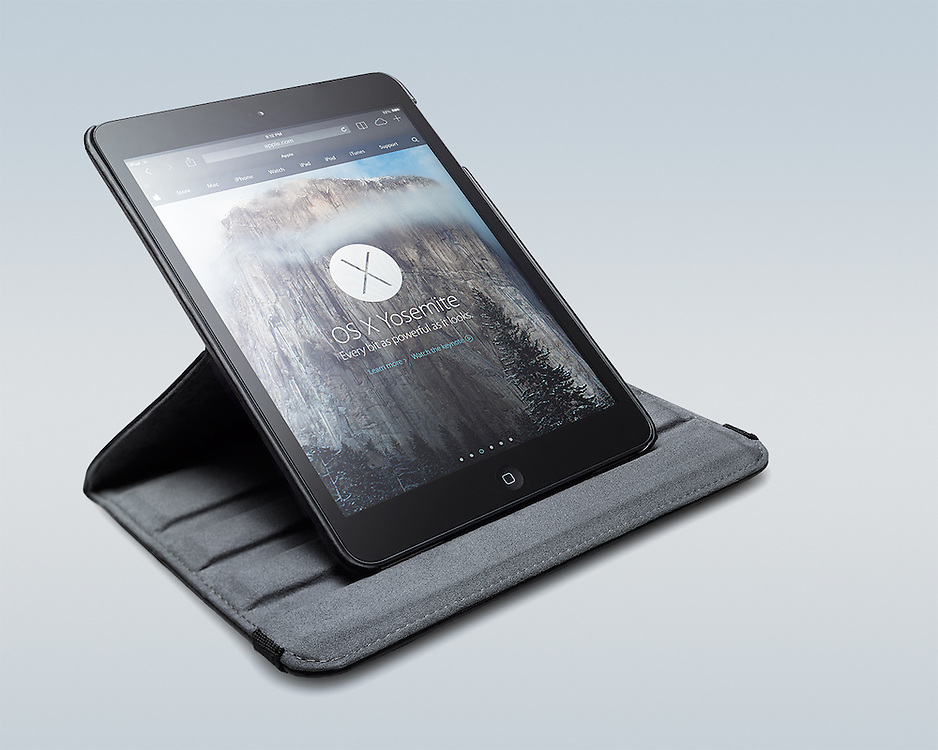 Apple iPad mini in suede & leather case & stand product photography.