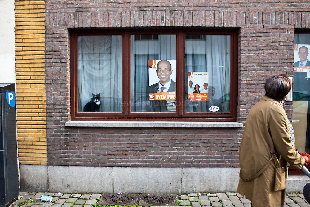Election poster for Pierre Nyembwe, of the cdH, Ixelles, Brussels, on the day of local elections in Belgium, 2012.