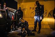 Police search downtown area for small time drug users and detain them, as part of fight against Mexican drug war in Tijuana, Mexico. SPANISH: Un presunto vendedor de droga es detenido y revisado por la policía. Tijuana es una de las ciudades donde circula la mayor cantidad de drogas hacia los Estados Unidos.