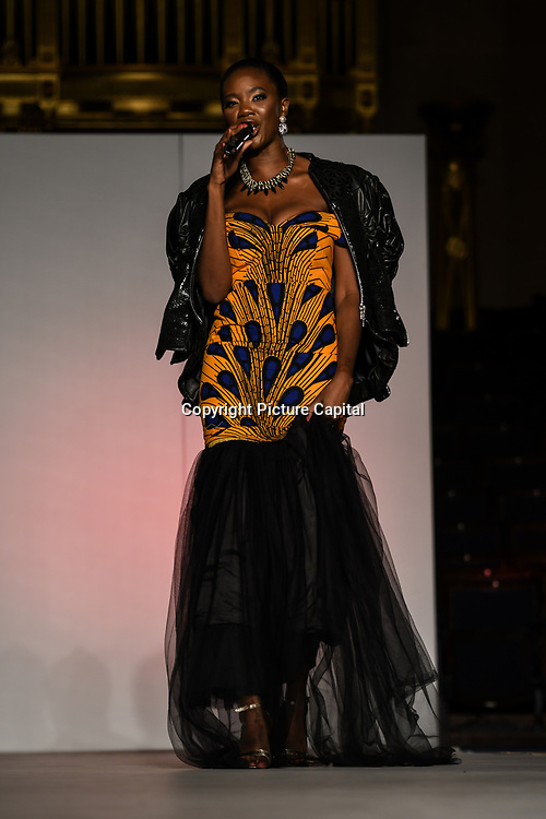 Presenter of the African Fashion Week London 2019 #AFWL2019 - backstage at Freemasons Hall on 9 August 2019, London, UK.