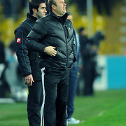 Gaziantepspor's coach Abdullah Ercan during their Turkish superleague soccer match Fenerbahce between Gaziantepspor at the Sukru Saracaoglu stadium in Istanbul Turkey on Monday09 January 2011. Photo by TURKPIX