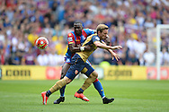 Yannick Bolasie of Crystal Palace hits Nacho Monreal of Arsenal in the face as he competes for the ball. Barclays Premier league match, Crystal Palace v Arsenal at  Selhurst Park in London on Sunday 16th August 2015.<br /> pic by John Patrick Fletcher, Andrew Orchard sports photography.