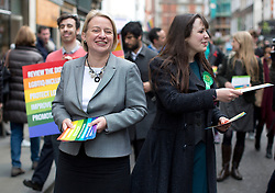 © Licensed to London News Pictures. 01/05/2015. London, UK. Natalie Bennett, left, and deputy leader Amelia Womack launch Green Party's LGBTIQ manifesto today in Soho, central London. Ms Bennett announced Green pledges to review the discriminatory blood ban and introduce LGBTIQ-inclusive sex education. Photo credit: LNP