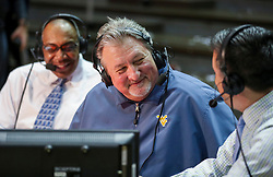 Nov 24, 2018; Morgantown, WV, USA; West Virginia Mountaineers head coach Bob Huggins smiles during an interview after beating the Valparaiso Crusaders at WVU Coliseum. Mandatory Credit: Ben Queen-USA TODAY Sports