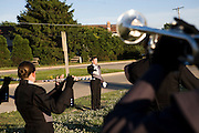 The Oregon Marching Band performs in Racine, Wisconsin on July 3, 2008.
