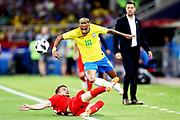 Neymar Jr of Brazil is fouled by Adem Ljajic of Serbia during the 2018 FIFA World Cup Russia group E match between Serbia and Brazil at Spartak Stadium on June 27, 2018 in Moscow, Russia.