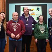05/03/2019<br /> Pictured are award winners Tommy Heffernan, Donall O'Farrell and Patricia Barrett, from Brothers of Charity Fairgreen, along with Sara Montoya, co-op member of Fairtrade Colombia, and Cllr Daniel Butler, Mayor of the Metropolitan District of Limerick.<br /> <br /> Fairtrade worker Sara Montoya, from a Fairtrade Coffee Co-op in Colombia was the special guest in Limerick City and County Council chamber today at an event to coincide with Fairtrade Fortnight.<br />  <br /> Sara joined Fairtrade supporters from across Limerick and Ireland for the annual initiative, which features a programme of talks and community events aimed at promoting awareness of Fairtrade and Fairtrade-certified products.<br />  <br /> Speaking at the event in Dooradoyle, Sara outlined the success and benefits of the Fairtrade movement in Colombia and how important it is for people in the developed world think of Fairtrade products when shopping.<br />  <br /> This year's campaign 'Create Fairtrade' invites us all to use our imagination and create fairtrade in our lives.<br />  <br /> Young people from across Limerick city and county were also a focus of the event as they displayed their posters, which they created to help change the way people think about trade and the products on our shelves.<br /> Photo by Diarmuid Greene