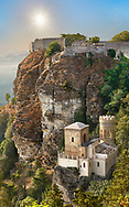 Small Saracen castle the Torretta Pepoli high on Mount Erice looking down 750 metres (2,460 ft) through clouds to Trapani and the Sicilian coast.