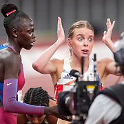 TOKYO, JAPAN August 3:    Silver medal winner Keely Hodgkinson of Great Britain reacts alongside gold medal winner Athing Mu of the United States after the Women's 800m Final at the Olympic Stadium during the Tokyo 2020 Summer Olympic Games on August 3rd, 2021 in Tokyo, Japan. (Photo by Tim Clayton/Corbis via Getty Images)