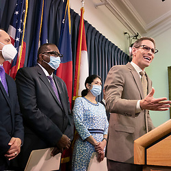 State Sen. Nathan Johnson, D-Dallas, joins nine Texas Democratic senators who supported their House quorum-busting colleagues in Washington, D. C. as they return to the Texas Capitol and explained their opposition to voting bills in the special session on July 21, 2021.