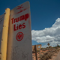 Grafiitti adorns a roadsign along the Moki Dugway Highway, formerly part of Bears Ears National Monument before it was downsized by the Trump administration.