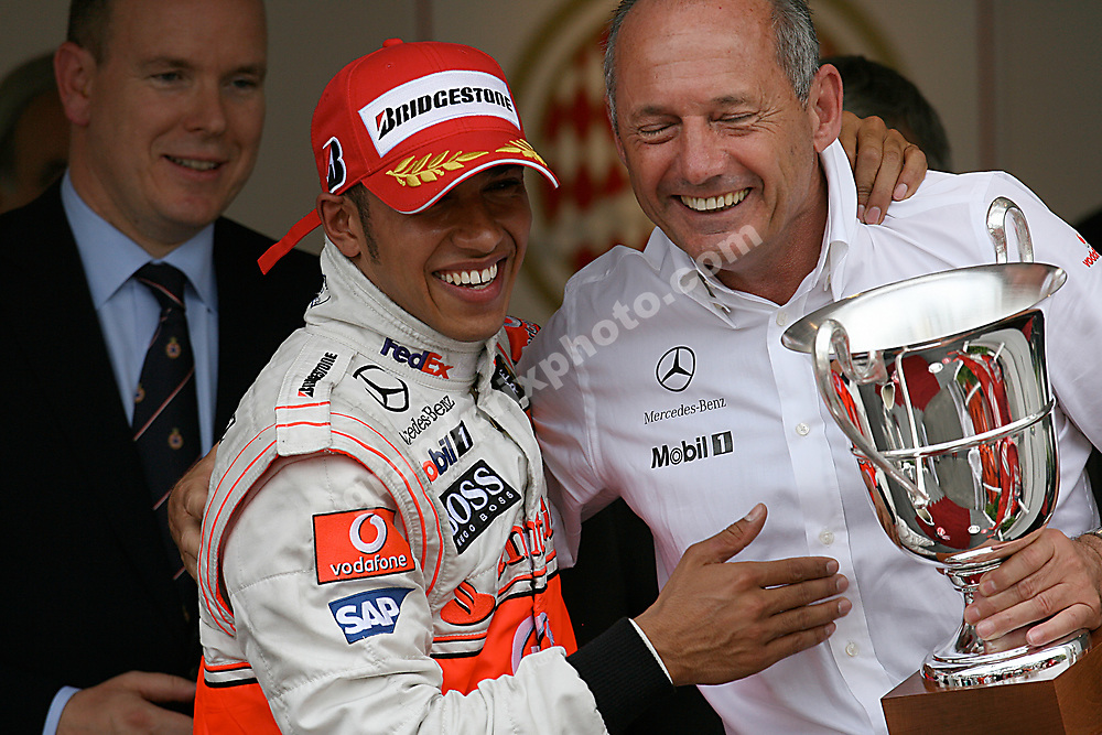 Lewis Hamilton (McLaren-Mercedes) with trophy, Ron Dennis and Prince Albert after winning the 2008 Monaco Grand Prix. Photo: Grand Prix Photo