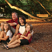 A family poses on The Horseshoe at The University of South Carolina in Columbia, S.C. ©Travis Bell Photography